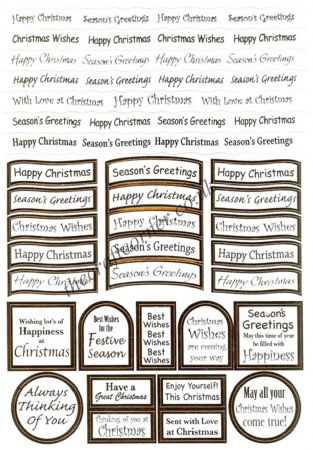 Christmas Foil Wording Die Cut Captions Sheet